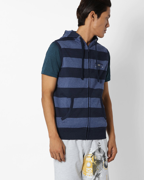 Striped Regular Fit Hooded Jacket By NETPLAY ( Blue )