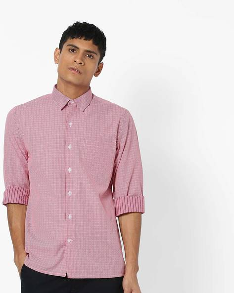 Checked Slim Fit Shirt With Patch Pocket By JOHN PLAYERS ( Red )
