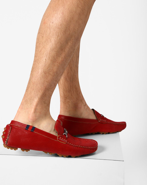 Textured Casual Slip-On Shoes By ALBERTO TORRESI ( Red )