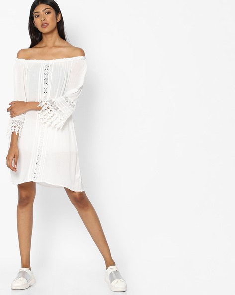 Off-Shoulder Shift Dress By Pink Woman ( White )