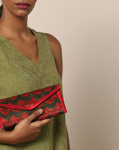 Ajrak Handblock Print Mashru Envelope Bag By Indie Picks ( Multi )