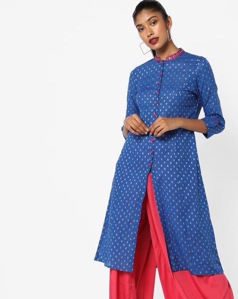 Foil Print Shirt Kurta With Roll-Up Tabs By AJIO ( Blue )