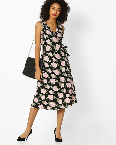 Sleeveless Floral Print Wrap Dress By Femella ( Black )