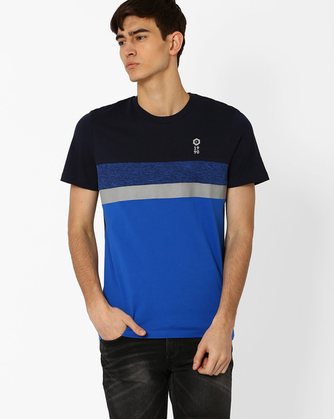 Colourblock Slim Fit T-shirt By Jack & Jones ( Blue )