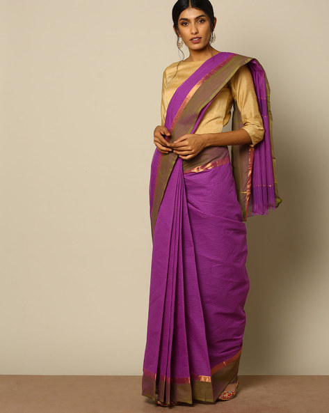 South Cotton Checked Saree With Zari Border By Indie Picks ( Violet )