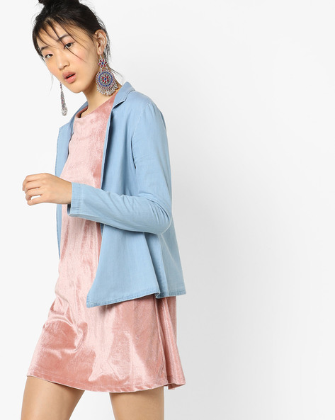 Denim Blazer With Notched Lapels By AJIO ( Lightblue )