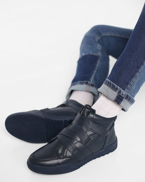 High-Top Sneakers With Velcro Fastening By AJIO ( Navy )