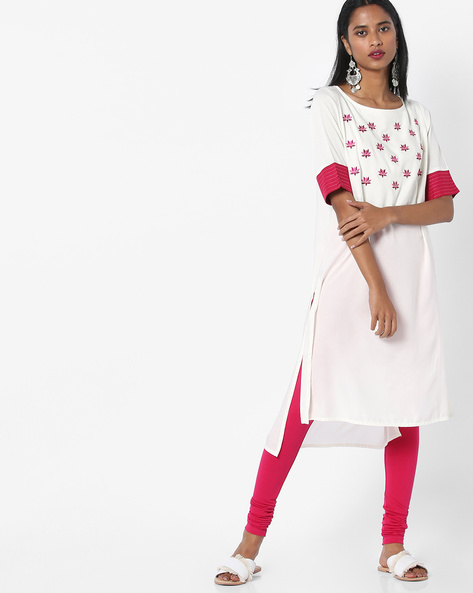 High-Low Straight Kurta With Embroidery By AJIO ( Offwhite )