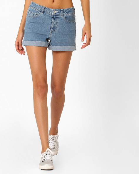 Mid-Rise Shorts With Upturned Hems By Vero Moda ( Blue ) - 460080839001