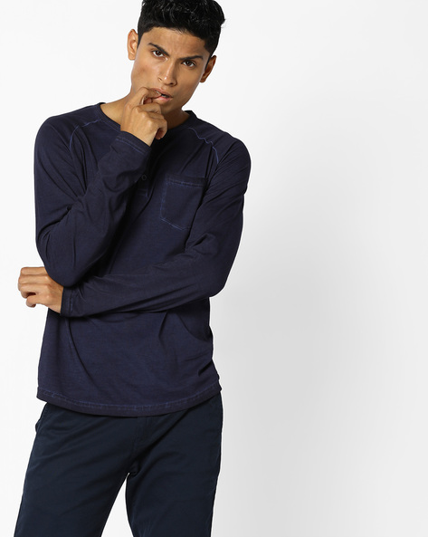 Henley T-shirt With Patch Pocket By AJIO ( Blue )