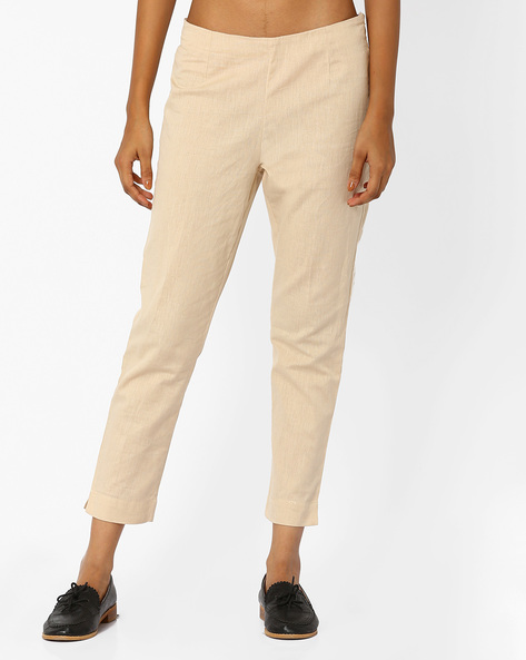 Ankle-Length Flat-Front Trousers By W ( Beige )
