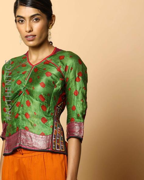 Kutch Embroidered Backless Blouse By Indie Picks ( Multi ) - 460103654001