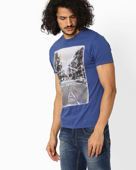 Graphic Print Slim Fit T-shirt By Pepe Jeans ( Navy )