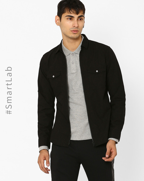 Slim Fit Shirt With Zip Closure By AJIO ( Black )
