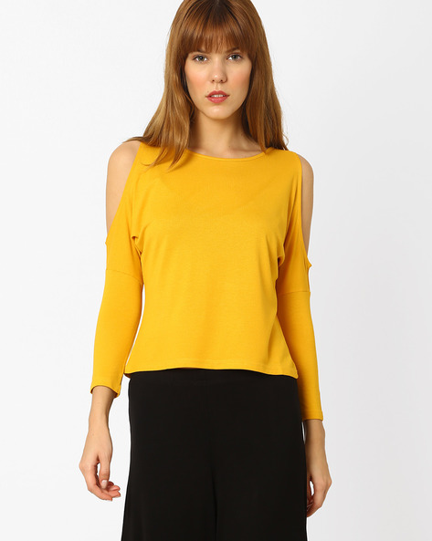 Cold-Shoulder Knit Top By And ( Yellow )