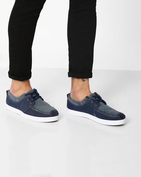 Roadster Panelled Sneakers With Embroidery By Spunk ( Navy )