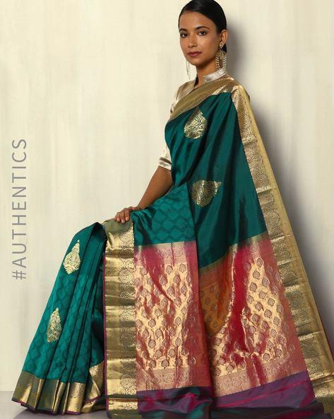 Handloom Kanchipuram Pure Silk Saree With Tested Zari By Pretty Woman ( Green )
