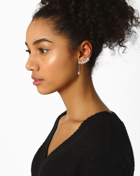 Ear Cuff & Stud Earring Set By Ayesha ( Silver )