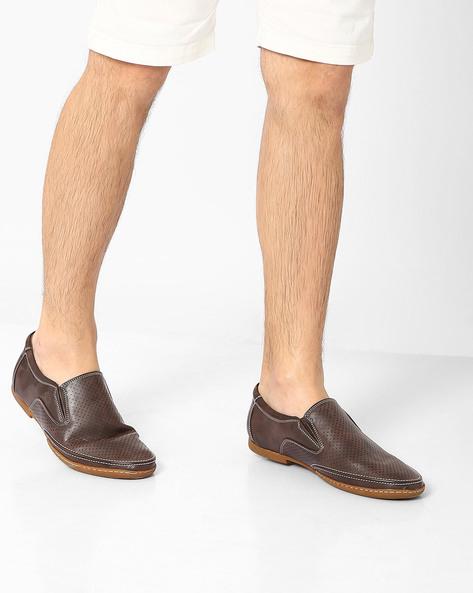 Perforated Casual Slip-Ons By BUCKAROO ( Brown )
