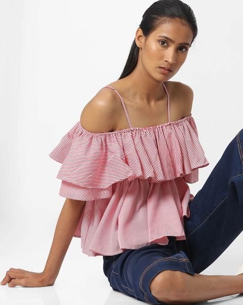 Off-Shoulder Checked Top With Tie-Up By Ginger By Lifestyle ( Red )