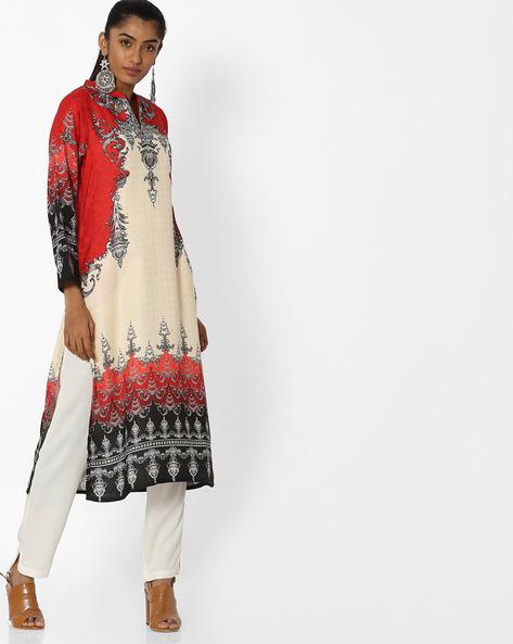 Printed Straight Kurta With Mandarin Collar By Shree ( Red ) - 460144475001