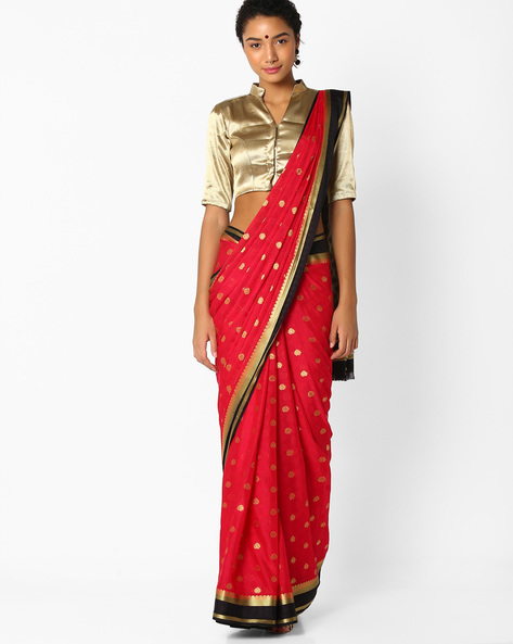 Jacquard Saree With Zari Border By Amori ( Red )