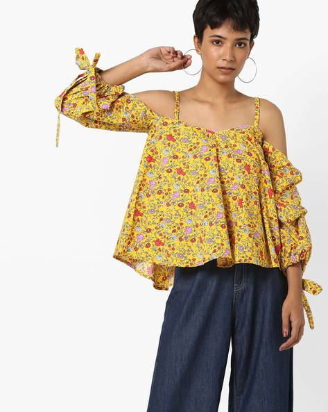Floral Print Top With Cold-Shoulder Sleeves By AJIO ( Yellow )