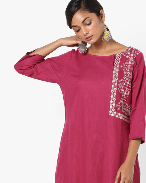 Straight Kurta With Embroidery By Project Eve IW Evening ( Magenta )