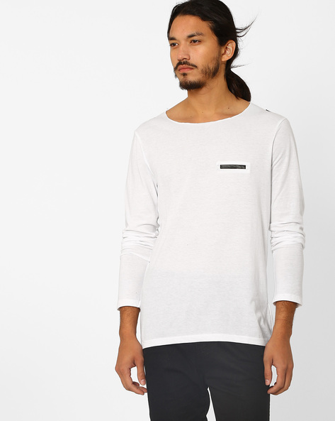 Crew-Neck T-shirt With Contrast Detail By MR.BUTTON ( White )