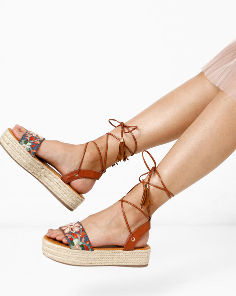 Platform Espadrilles With Embroidery By AJIO ( Tan )