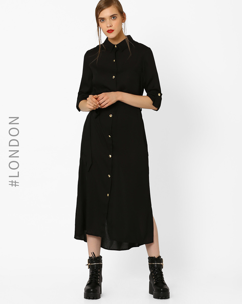 Maxi Shirt Dress With Fabric Belt By Closet London ( Black )