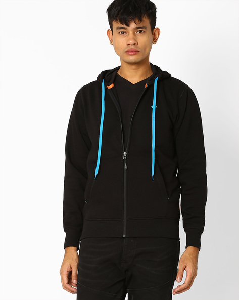 Hooded Sweatshirt With Front Zipper By Wildcraft ( Black )