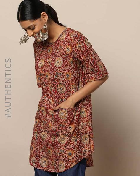 Handblock Print Kalamkari Embroidered Cotton Tunic By Indie Picks By AJIO ( Maroon )