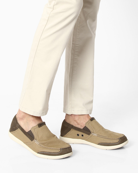 Walu Luxe Canvas Loafers By CROCS ( Khaki )