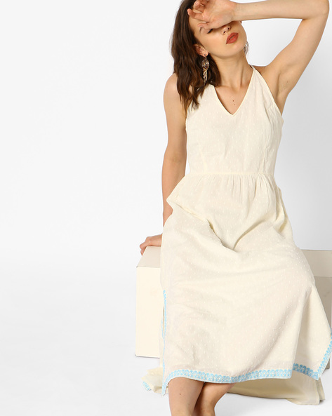 A-line Strappy Dress With Floral Embroidery By AJIO ( Offwhite )