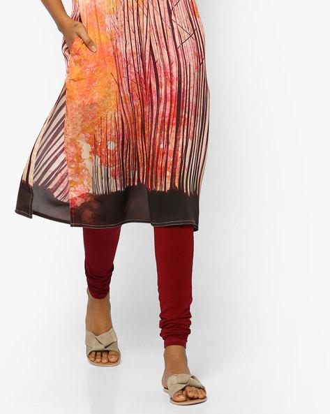 Churidar Leggings With Elasticated Waistband By SOCH ( Maroon ) - 460099975002