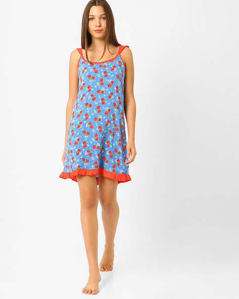 Floral Print Lounge Dress By Heart 2 Heart ( Blue )