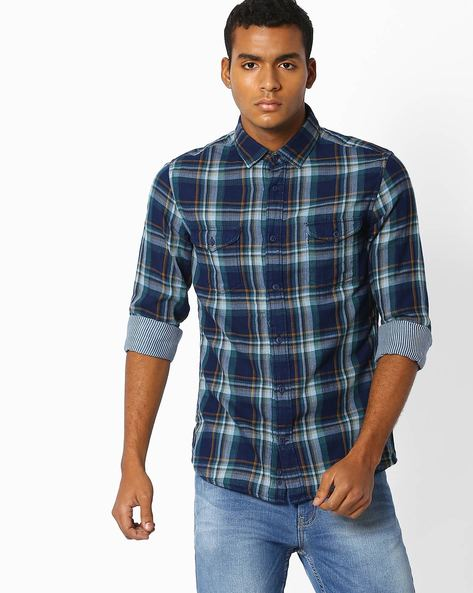 Checked Regular Fit Shirt By Celio ( Indigo )