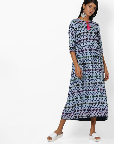 All-Over Print Gathered Dress By Aujjessa ( Blue )