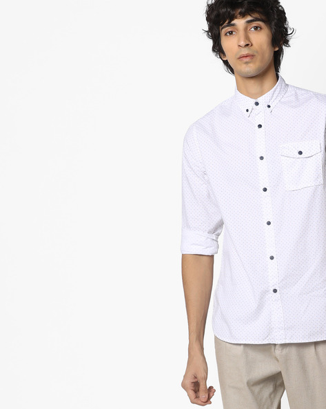 Printed Slim Shirt With Button-Down Collar By AJIO ( Blue )