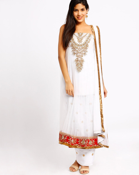 Embroidered Semi-Stitched Dress Material By Viva N Diva ( White )