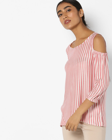 Striped Cold-Shoulder Top By Fame Forever By Lifestyle ( Pink )