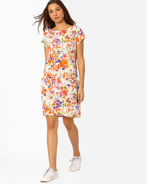 Floral Print Sheath Dress By AJIO ( White )