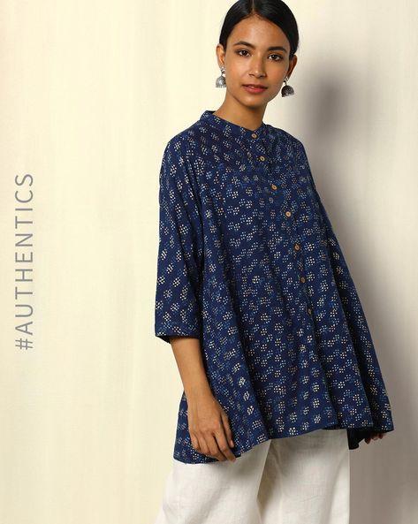 Dabu Handblock Print Indigo Cotton Top With Gold Khari By SWADESH ( Blue )
