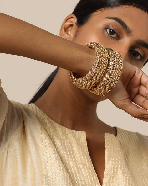 Pearl-Studded Paired Filigree Bangles By Rubans ( Gold )