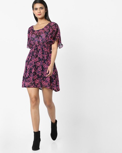 Floral Print Dress With Ruffles By Clovia ( Blue )