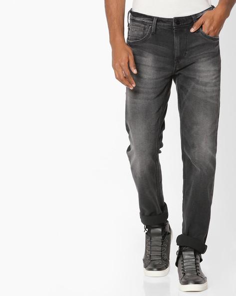 Heavy-Wash Slim Fit Jeans By FLYING MACHINE ( Black )