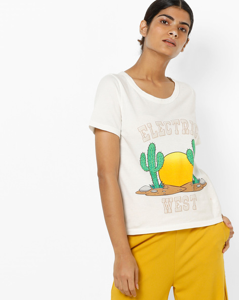 Graphic Print T-shirt With Back Cutout By Only ( White )