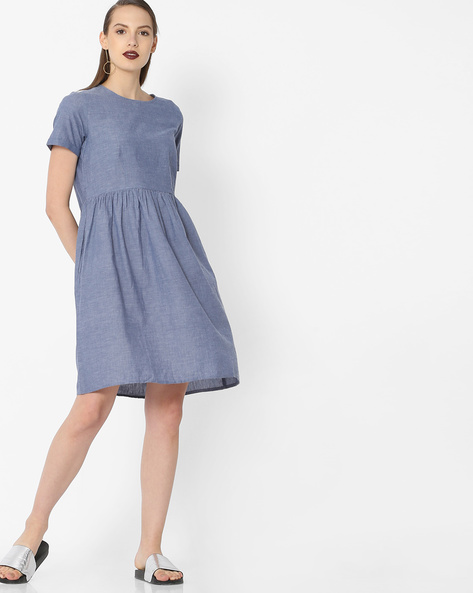 A-line Dress With Gathers By Project Eve WW Casual ( Blue )