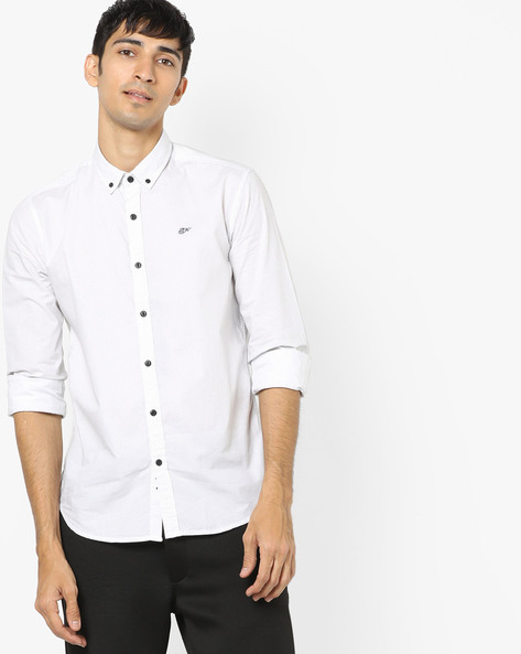 Polka-Dot Print Button-Down Shirt By ED HARDY ( White )